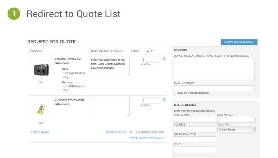 Magento Quotation Methods Cart2Quote Option 1