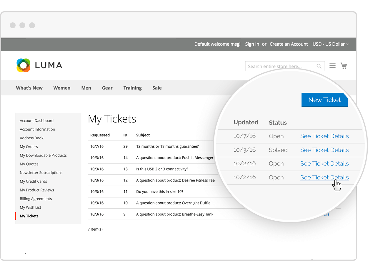 Magento Supportdesk Customer Dashboard
