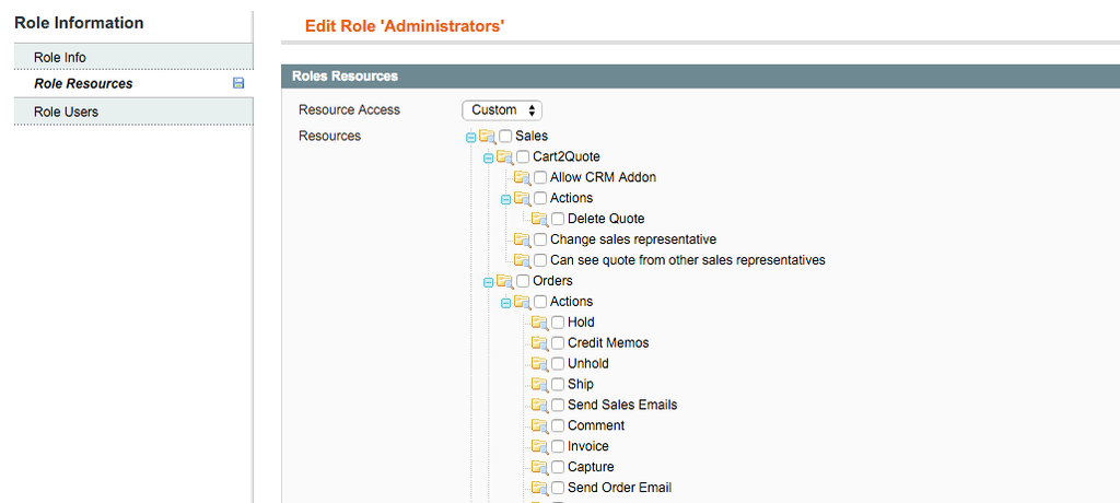 Cart2Quote system roles