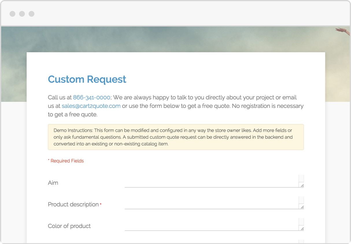 Features of our quotations extension for magento cart2quote view the custom quote form stopboris Images